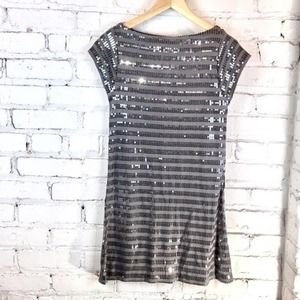 Passport gray sequins dress T-shirt shape NWT S